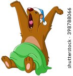 bear waking up from hibernation ... | Shutterstock .eps vector #398788066