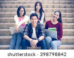 group of happy teen high school ... | Shutterstock . vector #398798842