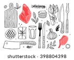 meat composition. meat... | Shutterstock .eps vector #398804398