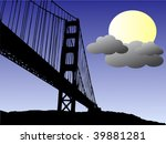 Golden Bridge At Moon Night
