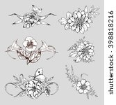 hand drawn ink floral ornament... | Shutterstock .eps vector #398818216