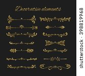 golden dividers set. ornamental ... | Shutterstock .eps vector #398819968