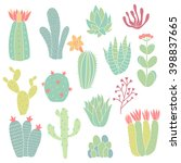 set of hand drawn cacti on... | Shutterstock .eps vector #398837665