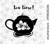 black teapot on seamless...   Shutterstock .eps vector #398838286