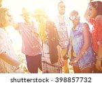 diverse beach summer friends... | Shutterstock . vector #398857732