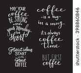 quote coffee typography set.... | Shutterstock .eps vector #398860846
