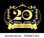gold logo of  20th yeasrs... | Shutterstock .eps vector #398867362