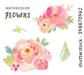 Stock vector cute watercolor flowers vector bouquets 398870962
