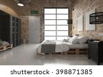 bedroom with pallets bed   3 d... | Shutterstock . vector #398871385