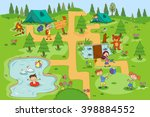 children enjoying summer camp... | Shutterstock .eps vector #398884552