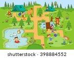 children enjoying summer camp... | Shutterstock .eps vector #398884552