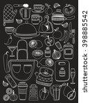 set of hand drawn cookware.  | Shutterstock .eps vector #398885542