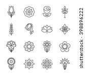 Stock vector flower icons set modern thin contour line 398896222