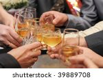 glasses with champagne in hands ... | Shutterstock . vector #39889708