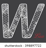 white lace lacy font letter w ... | Shutterstock . vector #398897722
