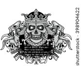 gothic coat of arms with skull...   Shutterstock .eps vector #398904622