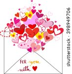 envelope with heart and love... | Shutterstock .eps vector #398949706