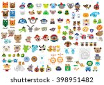 set of funny vector animal icon ... | Shutterstock .eps vector #398951482