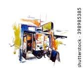 watercolor shop  | Shutterstock .eps vector #398985385