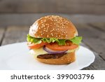 burger in a white plate on... | Shutterstock . vector #399003796