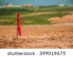 metal survey peg with red flag... | Shutterstock . vector #399019675
