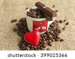 chocolate and coffee beans on... | Shutterstock . vector #399025366