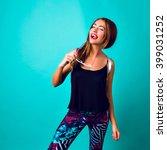 lifestyle studio portrait of... | Shutterstock . vector #399031252