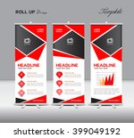 red roll up banner and info... | Shutterstock .eps vector #399049192