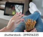 watching the tv series on a... | Shutterstock . vector #399056335