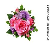 Aster And Rose Flowers Bouquet...
