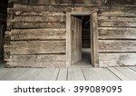 Log Cabin With Open Front Door. ...