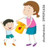 mom helping little boy getting... | Shutterstock .eps vector #399091636