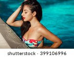 beautiful woman at swimming... | Shutterstock . vector #399106996