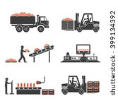 icons line production of juices | Shutterstock . vector #399134392
