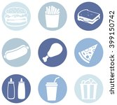vector set of fast food icons.  ... | Shutterstock .eps vector #399150742