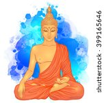 sitting buddha over watercolor... | Shutterstock .eps vector #399165646