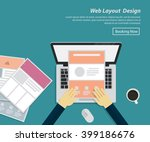 flat design of web layout...