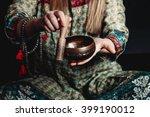 tibetan singing bowl in the... | Shutterstock . vector #399190012