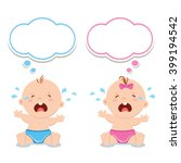 little baby boy and baby girl... | Shutterstock .eps vector #399194542