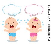 cute baby boy and baby girl... | Shutterstock .eps vector #399194545