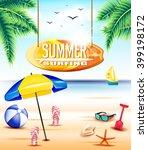 hanging summer surfing... | Shutterstock .eps vector #399198172