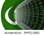 National flag of Pakistan with a large display of daily stock market price and quotations during economic booming period. The fate and mystery of Islamabad stock market, tunnel / corridor concept.