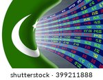 National flag of Pakistan with a large display of daily stock market price and quotations during normal economic period. The fate and mystery of Islamabad stock market, tunnel / corridor concept.