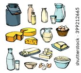 milk and farm product. set of... | Shutterstock .eps vector #399212665