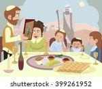 reading the haggadah at seder... | Shutterstock .eps vector #399261952