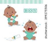 little baby boy with milk... | Shutterstock .eps vector #399275506