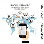 global social network abstract... | Shutterstock .eps vector #399282286