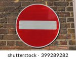 a no entry sign on an old red... | Shutterstock . vector #399289282