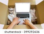 user hands unboxing new laptop...   Shutterstock . vector #399292636