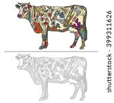 Cow. Hand Drawn Sketch And...